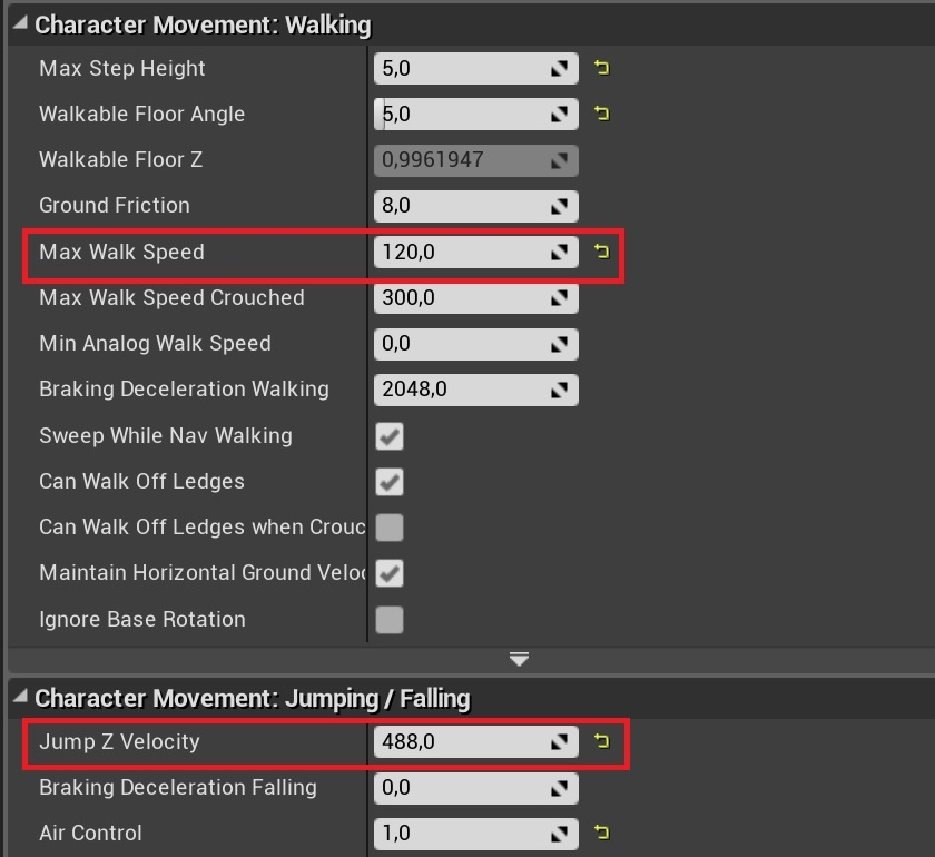 Jump distance settings